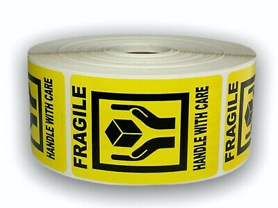 1000 2x3 Bright Yellow FRAGILE Shipping Labels Stickers
