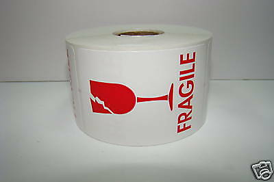 100 Labels 2x3 White / Red Fragile BROKEN GLASS Shipping Mailing Warning Sticker