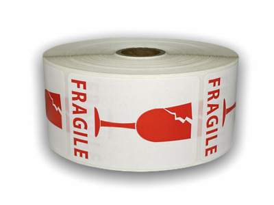 1000 Labels 2x3 Red/White BROKEN GLASS Shipping Mailing Fragile Warning Stickers