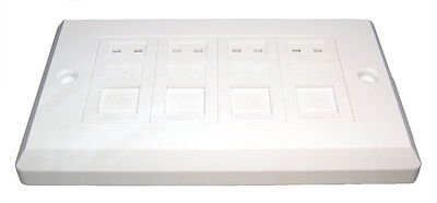 CAT6 Quad RJ45 Wall Face Plate/Faceplate Network 4 port
