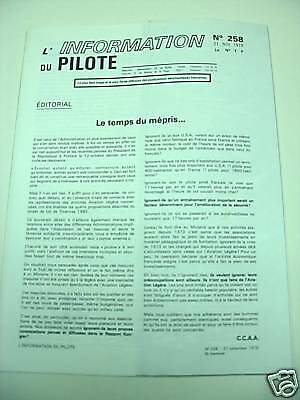 L'information Du Pilote  N° 258 / 21 Nov 1979 Aviation