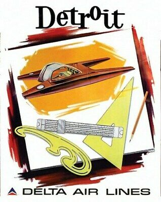 DETROIT VINTAGE TRAVEL POSTER Airline RARE HOT NEW