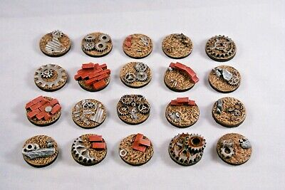 Junk 25mm Post Apocalyptic resin bases X10 wargames Sci-fi fantasy, unpainted
