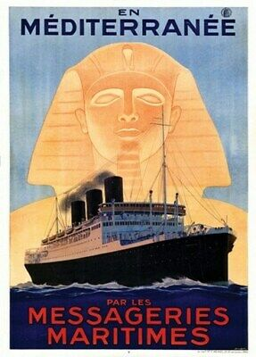 TX155 Vintage Messageries Maritimes French Cruise Liner Travel Poster A2//A3