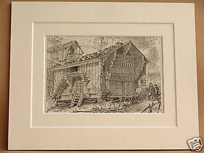 SEPEY CHALETS SWISS SWITZERLAND ANTIQUE ENGRAVING c1890