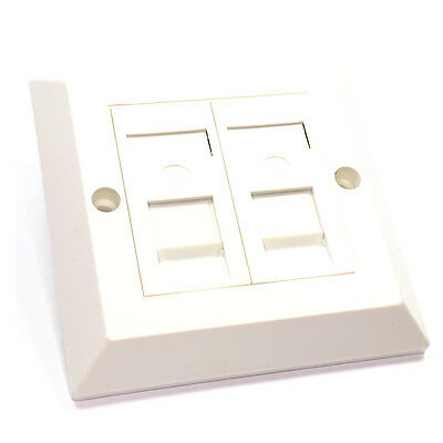 Double RJ45 Wall Face Plate/Faceplate Network LAN Cat5e