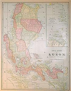 1902 Luzon  Island Color Map** w/ Populations