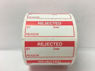 """350 Labels of 1-1/2"""" x 5/8"""" Red REJECTED Inspection Quality Control Labels"""