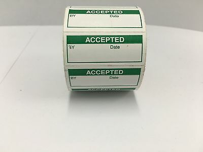 """350 Labels of 1-1/2"""" x 5/8"""" Green ACCEPTED Inspection Quality Control Labels"""