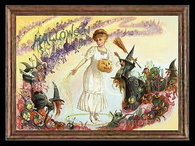 Halloween Witches /& Goblins Dollhouse Victorian Picture