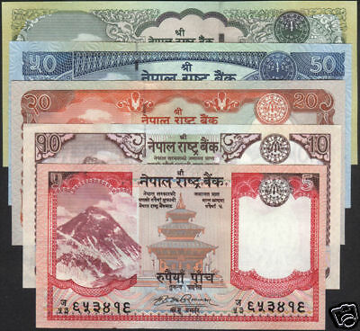 NEPAL First EVEREST BANKNOTE Rs 5 to 100 set of 5 with sign 17,P- 60a to 64a UNC