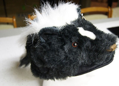 SKUNK HAT tail Halloween COSTUME head mask cap PLUSH flower stripe daniel boone