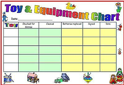 childminder childminding 4 X CHARTS toy menu activity