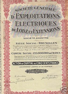 "Belgium-Bond-""Electronis""50 Francs 1927 Very Fine Condition"