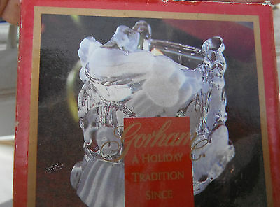 GORHAM Santa Christmas train votive,lead crystal,Made in Germany