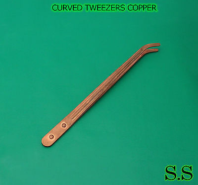 "Curved Tweezers Copper Pickling Tongs 9"" Jewelry Pickle"