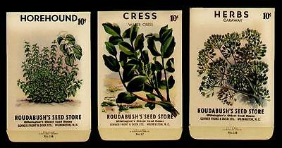 3 OLD ROUDABUSH'S HERBS-CRESS-HOREHOUND SEED PACKETS