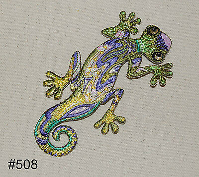 1Pc~Green Iridescent Lizard~Iron On Embroidered Patch