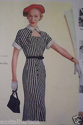 50s VINTAGE OLD AD WHITE SIMPLICITY PATTERN PRETTY GIRL