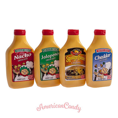 3x440ml USA Squeeze Cheese Sauce  Nacho Cheddar Jalapeno Chipotle  (11,36€/l)