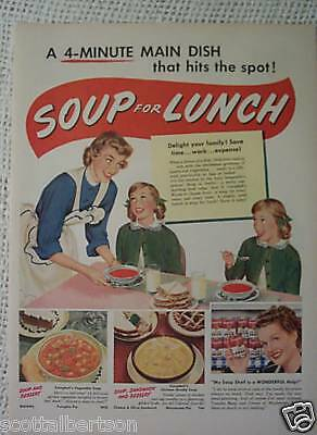 50s VINTAGE OLD PRINT ADS PAUL JONES CAMPBELL'S SOUP