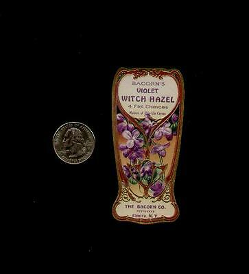 1910's BACORN'S VIOLET WITCH HAZEL PERFUME LABEL - WOW!