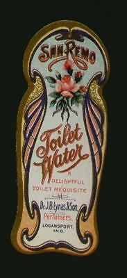 1910's SAN REMO TOILET WATER LABEL/ROSE FLOWER PERFUMERS