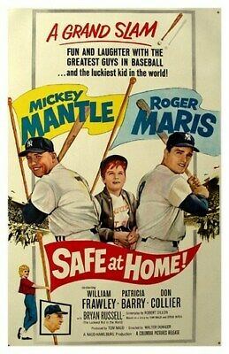 Safe At Home Movie Poster - Mickey Mantle Rare Vintage