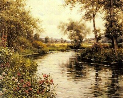 LOUIS ASTON KNIGHT POSTER Springtime River Flowers RARE
