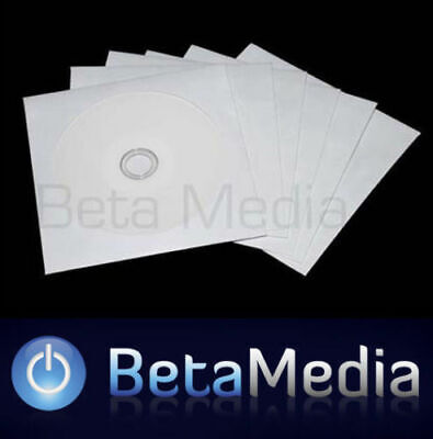 100 Paper CD / DVD Sleeves - HIGH QUALITY White Envelopes Plastic Window 120GSM