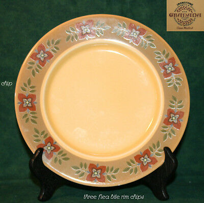 Taylor Smith & Taylor CASA MADRID Grenada Line Salad Plate Cream Red Flowers