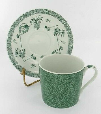 """VINTAGE SPODE CHINA """"GARDENING"""" GREEN CUP & SAUCER SET DISCONTINUED ENGLAND"""