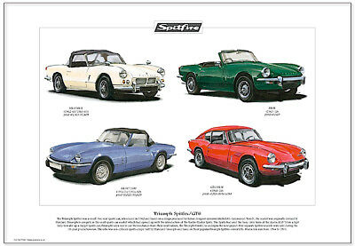 TRIUMPH SPITFIRE Fine Art Print - Three Spitfires plus the coupe GT6 illustrated