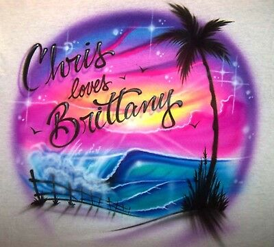ef06bdb8a38 Airbrushed Colorful Beach Scene Sunset Wave and Palm Tree Personalized  T-Shirt