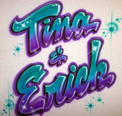 Airbrushed Personalized Graffiti Bubble Letter T Shirt With Any Name