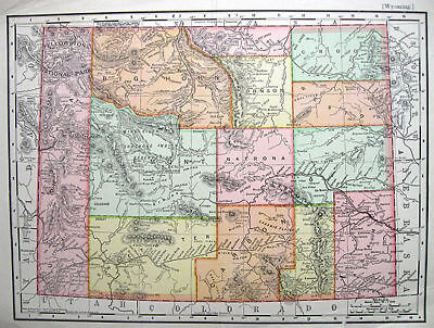1901 WYOMING Nicely Detailed * RAND McNALLY original