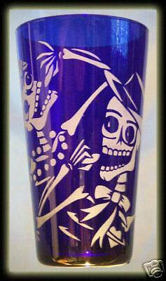 Day Of The Dead Skull Art With Dog And Cat Cobalt Pint