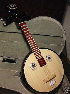 Chinese Lute Soprano Moon Guitar Musical Instrument Xiao Ruan with case