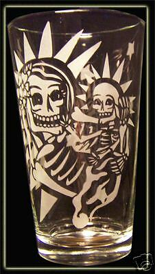 Day of the Dead Skull Art Madonna And Child Pint Glass