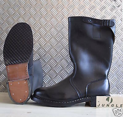 Genuine German Army Black Leather Motorbike Jack / Riding Boots - UK Size 8½ NEW