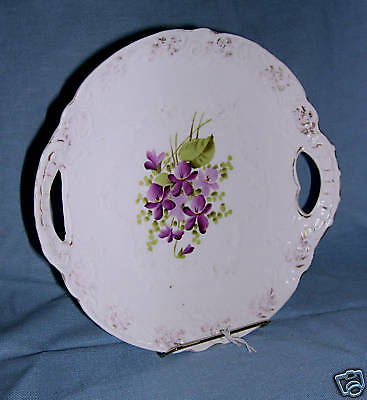 Old Handpainted Violets Serving Plate in Porcelain from Carlsbad Austria