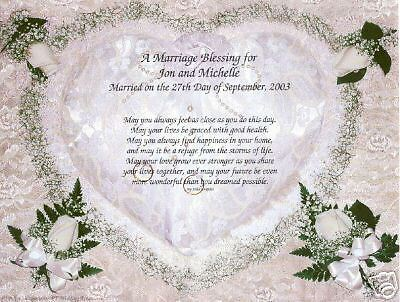Wedding Marriage Blessing Poem Personalize Name Prayer 7 99