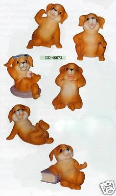 New Cute Dog Set of 6 Happy Playful Dogs Figurines