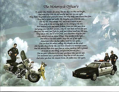 Police Motorcycle Officer Poem Prayer Personalized Name