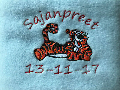 Personalised Newborn Baby Boys Tigger Blue Blanket Gift