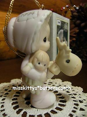 Precious Moments~ORNAMENT~Babys First Christmas~1994~girl on Stick Horse~530255