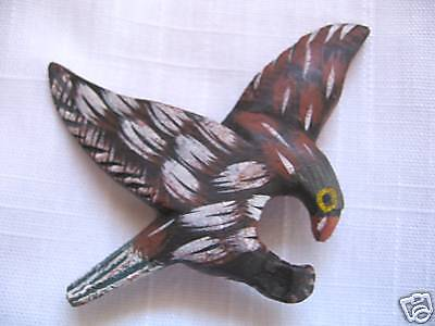 Unique Handcrafted Hand Painted Wood Bird In Flight Refrigerator Magnet    Rare