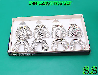 Impression Tray Set Of 8 P Perforat Dental Instruments