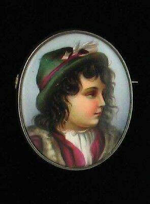 ANTIQUE PORCELAIN PLAQUE KPM BOY BROOCH HANDPAINTED