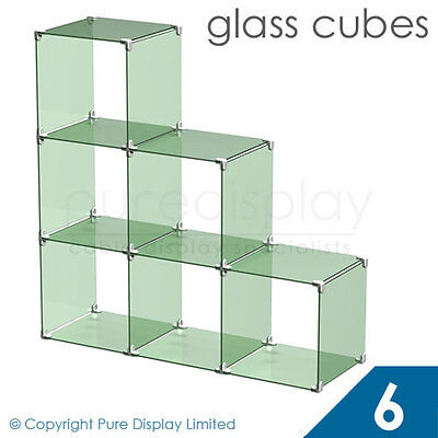 Clear Glass Cube Display Set 1x2 Retail Displays